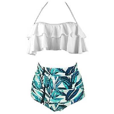 AOQUSSQOA Femme Vintage Taille Haute Volants Maillot de Bain Mignon Bikini 2 Pièces (EU 38-40(M), 9)