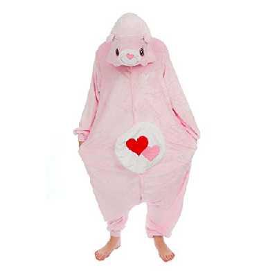 Unisexe Care Bears Cheer Bear Love Bear Share Bear Lucky Bear Bedtime Bear Onesie Déguisement Pyjama Cosplay Fête Tenue Sweat à Capuche Costume Cadeau de Noël (Love Bear, S(Height 150cm-160cm))