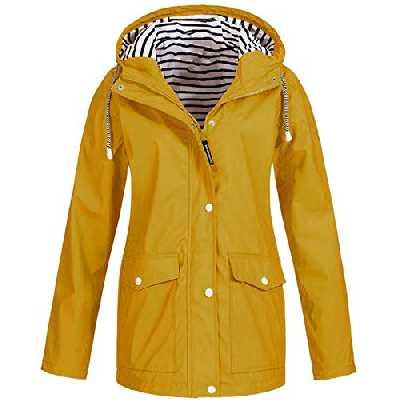 Millenniums Femme Manteau Imperméable Veste De Pluie Pliable Capuche Grande Taille Coupe-Vent Jacket à Manches Longues Casual Sweatshirt Hoodie Outwear Sport Parka (Jaune, S,36)