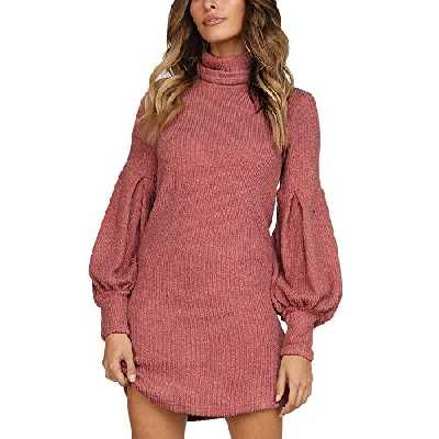 Susenstone Tricoté Col Roulé Pull Femme Hiver Pas Cher A La Mode Tops Chemisier Sexy Manche Longues Robe Pull Col Roulé Femme Sweater (S(EU34), Rouge)