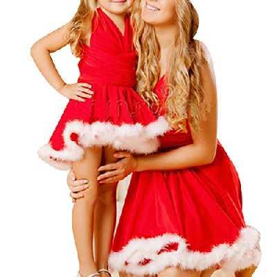 Frecoccialo Robes Assortis Mère Fille Noël Robe de Cocktail Noël Rouge Maman et Bébé Doté Fausse Fourrure Blanc au Bord(Mère L)