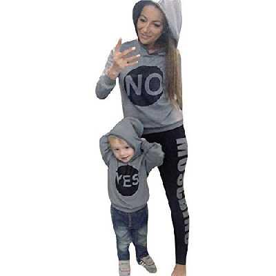 Moonuy Vêtements Famille Assortis, Famille Mère Enfants Bébé Fille Correspondant à Tenue Sweat à Capuche Sweat-Shirt Bébé Fille Garçon Pull molletonné Tops
