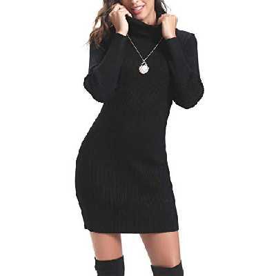 Aibrou Robe Pull Femme Hiver à Col Roulé à Manches Longues Chaud Tricoté Extensible sous-Mini-Robe Pull-Over, Black, XL
