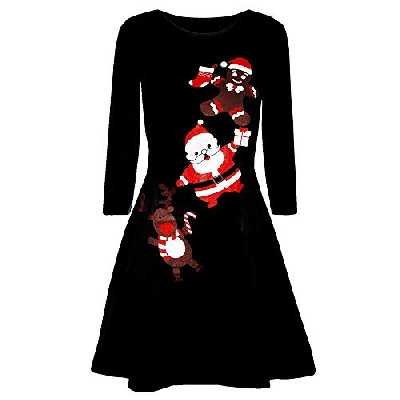 MORCHAN ❤ Cadeaux de noël Les Femmes de Noël imprimé à Manches Longues de soirée Bal Costume Robe Swing(X-Large,Noir-2)