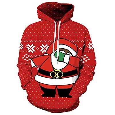 Pull de Noel Homme Sweat a Capuche Pull Moche de Noël Lumineux Drole Sweat Shirt Kitsch Femme Sweat à Capuche Sweet Sweatshirt Renne Imprimé Christmas Cerf Rigolo Kitch Couple Hoodie Unisexe S/M