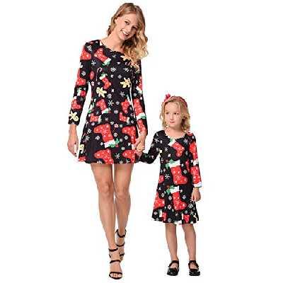 Vintage Swing Mini Robe Noel Femme Fille Automne Hiver Tunique Manches Longues Grande Taille Trapeze Chic Robe Taille Haute Evasee Imprime de Cocktail Tenue Noel Mère Enfant Vêtements Famille Assortis