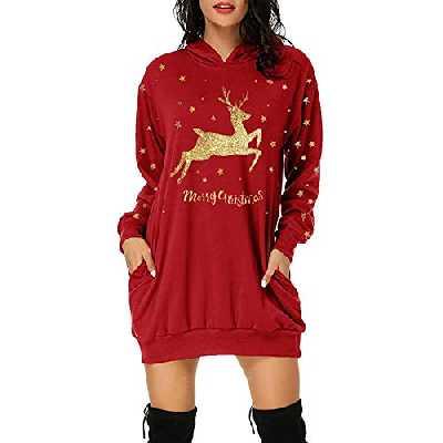 MORCHAN Cadeaux de noëlFemmes de Noël à Manches Longues Wapiti Chemisier Sweat-Shirt Hauts Casual