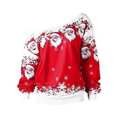MORCHAN Cadeaux de noëlMode féminine Joyeux Noël Père Noël Imprimer Collier obliquité Sweat Chemisier