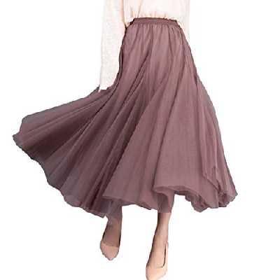 FEOYA Jupe Plissée Femme en Tulle Casual Jupon Jupe Femme Ample Élastique Taille Haute - Marron- Taille Unique - Longueur 84cm