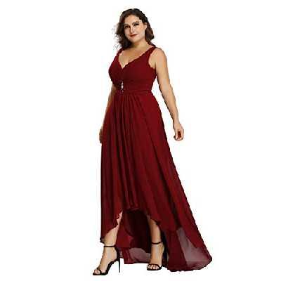 Ever-Pretty Robe de Demoiselle d'honneur Salut-Bas Col en V Taille Empire Mousseline de Soie A-Line Femme Grand Taille Bordeaux 54