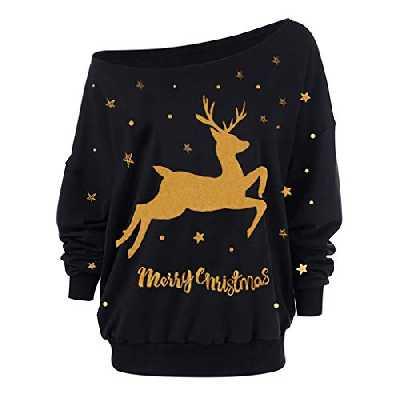 MORCHAN ❤ Cadeaux de noël Femmes de Noël à Manches Longues Bretelles Sweat imprimé Pull Tops Chemisier(Medium,Marine)