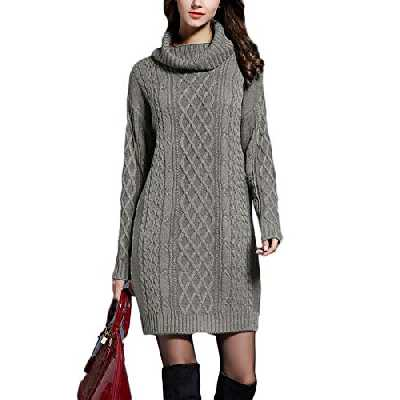 Mini Robe,Pull Tricot Femmes Casual Col Haut Manches Longues Slim Fit Sweater Gris Vert M