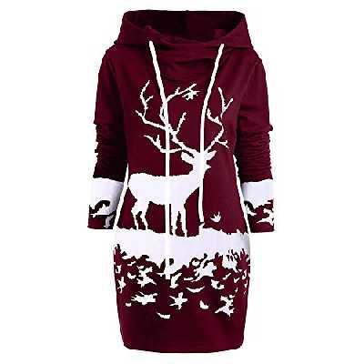 MORCHAN Cadeaux de noël Femmes Reindeer Monochrome Noël Imprimé Mini Robe Capuche avec Cordon de Serrage(Medium,Vin Rouge)