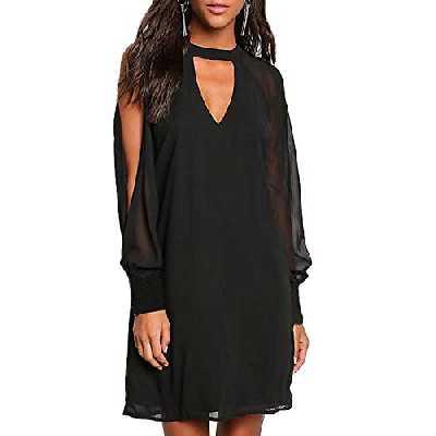 YOINS Femmes Robe Mousseline Épaules Dénudées Sexy Élégante Dress Manches Longues T-Shirt Robe Patineuse Col V, C-noir, XS