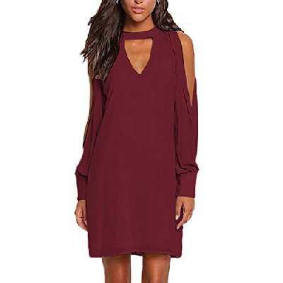 YOINS Femmes Robe Mousseline Épaules Dénudées Sexy Élégante Dress Manches Longues T-Shirt Robe Patineuse Col V, C-rouge Foncé, XS