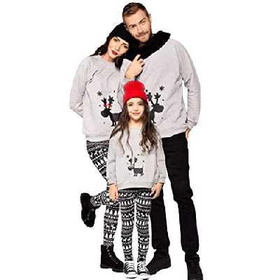 Pull Noël Famille Pull de Noël Homme Femme Enfant Garcon Fille Moche Sweat Shirt Renne Cerf Sweat-Shirt Mère Fille Col Rond Manche Longue Sweat Hiver Toute la Famille (Gris-Enfant, L-5-6 Ans)