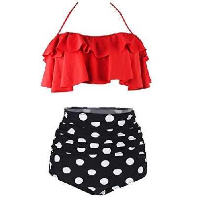 AOQUSSQOA Femme Vintage Taille Haute Volants Maillot de Bain Mignon Bikini 2 Pièces (EU 38-40(M), 6)