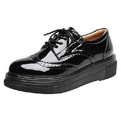 DADAWEN Femme Chaussures de Ville à Lacets Brogues Derbies Mocassins en Cuir Casual Mode Antidérapantes Noir 39