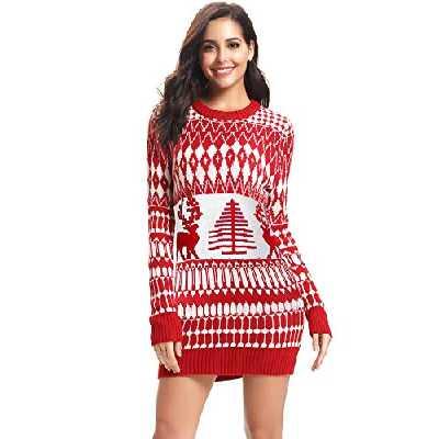 iClosam Femmes - Ugly - Pull en Maille de Noël avec imprimé élan à Manches Longues (rouge1, M)