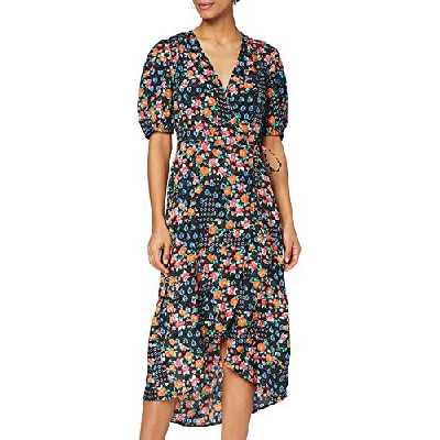 Marque Amazon - find. Robe Midi Portefeuille Femme, Noir (Black), 38, Label: S