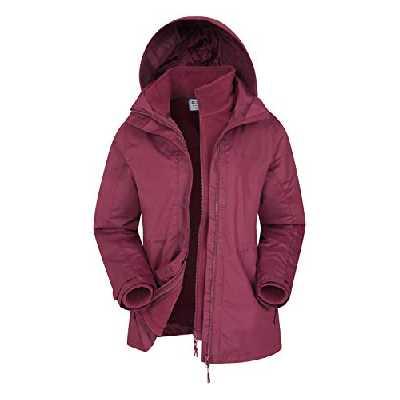 Mountain Warehouse Veste 3 en 1 Fell pour Femmes - Manteau imperméable, Capuche Ajustable et Pliable, Poches zippées - Idéale en Hiver Bordeaux 34
