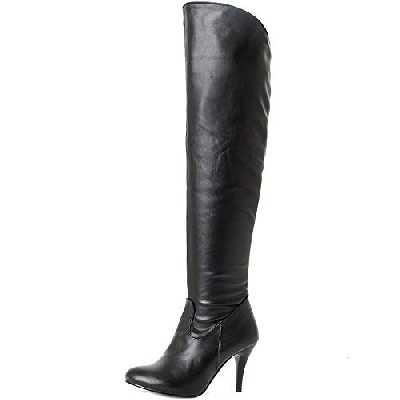 COOLCEPT Bottes Femmes Cuissardes Bout Pointu Chaussures Hiver Talon Haut Black-PU Size 40 Asian