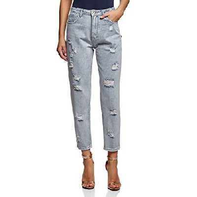 oodji Ultra Femme Jean Mom Fit Taille Haute, Bleu, 29W / 32L (FR42 = L)