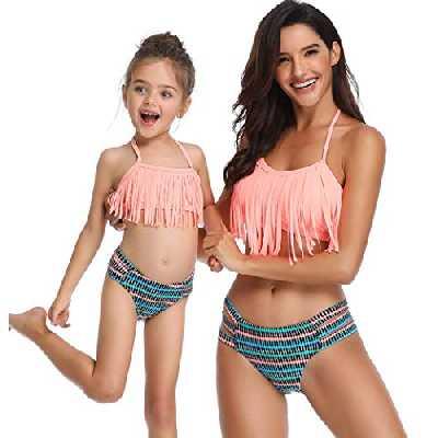 2Pcs Mère et Fille Famille Maillot De Bain Femme Bébé Fille Licou Ébouriffer Bikini Haut Bas Maillot De Bain Tenue De Plage (Fille/2-3T, Rose 1)