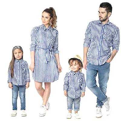 douleway Famille Papa Mère Fille Garçon T-Shirt à Carreaux Bébé Enfant Hauts Nouvelle Famille Assortie Vêtements Ensembles