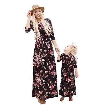 douleway Famille Mère Fille Robes Florale Décontractée Longue Robe de soirée Cocktail Familles Assortie