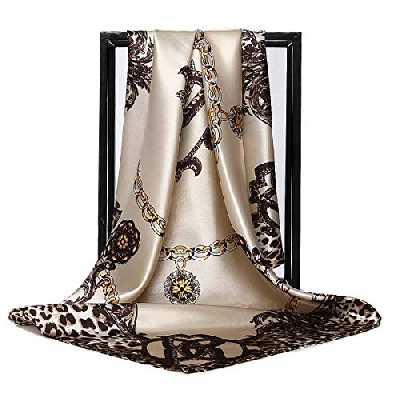 Foulard en soie pour femme - Grand carré Satin 90 cm - blanc - 89 cm