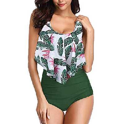 Maillot de Bain 2 Pièces Femme Sexy Bikini à Volants Bain de Soleil Imprimé Vert M