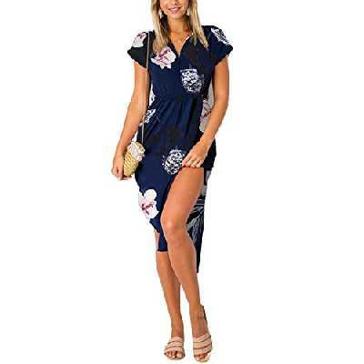 YOINS Robe Longue Femme Été Chic Robes Imprimé Florale Sexy Dress Robe de Plage Asymétrique Robe Tunique Maxi Une Ligne Imprimé-Bleu Foncé 02 XL