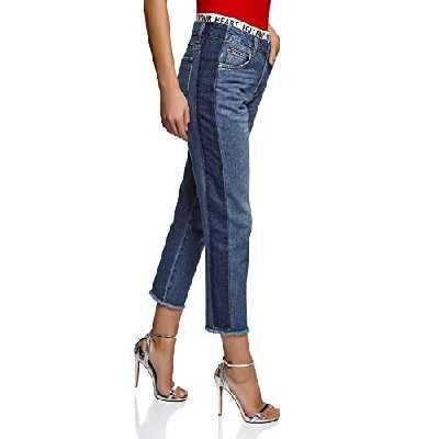 oodji Ultra Femme Jean Mom Fit Taille Haute, Bleu, 28W / 32L