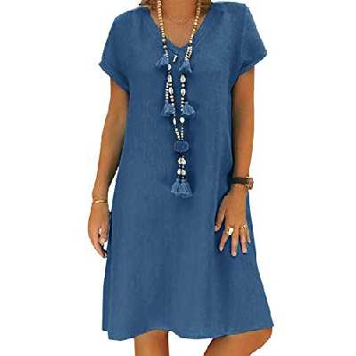 Yidarton Robe Été Femme de Plage Rétro Robes Col V Lin Robes au Genou Manches Courte Unie Casual Tuniques Ample sans Accessoires(Bleu,L)