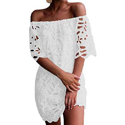 YOINS Robe Courte Femme Robe D'ete Sexy Mini Robe Epaules Nus Imprime Florale Mini Dress Robe De Printemps Demi Manches, Blanc-dentelle, M (EU 40-42)
