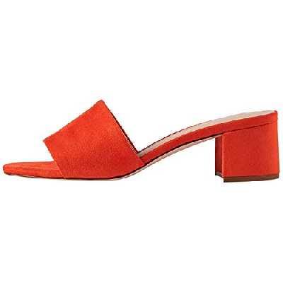 find. Wide Fit Simple Block Heel Mule Sandales Bout Ouvert, Orange Coral), 36 EU