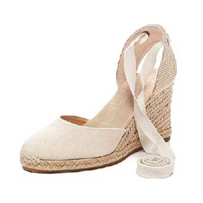 Tomwell Sandales Femmes Mode Espadrille Lanière Sandals Talon Compensé Plateforme Été Casual Romaines Sandals Doux A Beige 35 EU