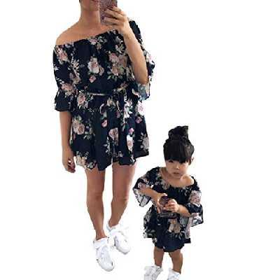 Loalirando Robe Florale Mère et Fille Eté à Manches Courtes Robe Courte Evasées Epaules Dénudées, Bleu Fille, S
