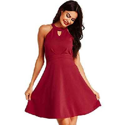 SUNNYME Femme Robe Vintage Robe Epaules Dénudées Chic Soirée Sexy Robe Trapèze Marine Rouge M