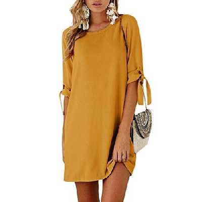 YOINS Femmes Mini Robes Été T-Shirt Demi Manches Robe De Femme Col Rond Haut Chemise Décontractée Robe De Printemps, Nouveau-orange, EU 36-38( S)
