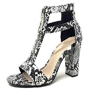 Angkorly - Chaussure Mode Sandale Escarpin Sexy salomés Hauts Talons Femme imprimé Serpent Python lanière lanière Talon Haut Bloc 11 CM - Noir 2 - CB61 T 39