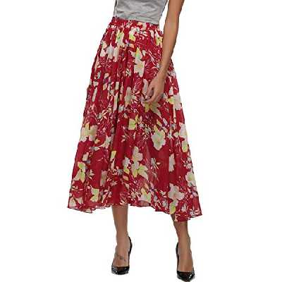 Abollria Jupe Longue Femme Bohème Fleuri Élastique Fluide en Tull Plissée Imprimé Floral Évasée Été en Mousseline de Soie Grande Taille Flamenco Boho Plage Dress Casual, Rouge 2, S