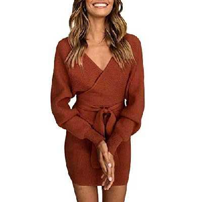 Asskdan Femme Elégant Robe Pull Tricoté Col V Croisé Manche Longue Robe Crayon avec Ceinture (Rouge, L)