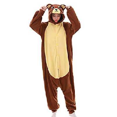 Ours Brun Pyjama Adulte Combinaison Animaux Vêtement de Nuit Halloween Cosplay Costume Noel Party Soirée de Déguisement,Z-ours Brun(Marron),Taille S pour 150-158cm de hauteur,S,Z-ours Brun