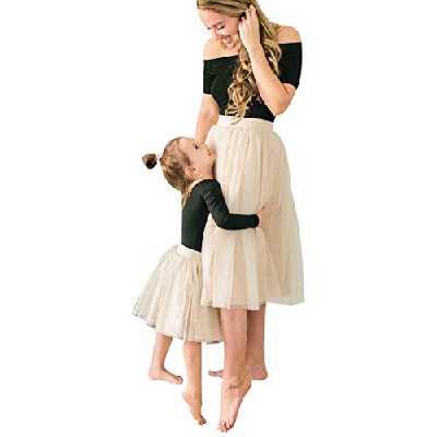 2 Pièces Robe Ensemble Famille Robe de Ballet pour Mère et Fille T-Shirt à Col Large Noir + Jupe Tutu Mi-Longue (Fille 120)