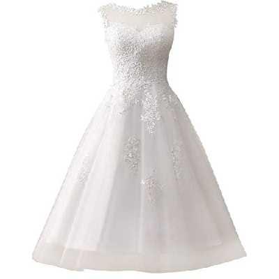 Robe de mariée avec dentelle, coupe trapèze longueur mollet - Blanc - 48