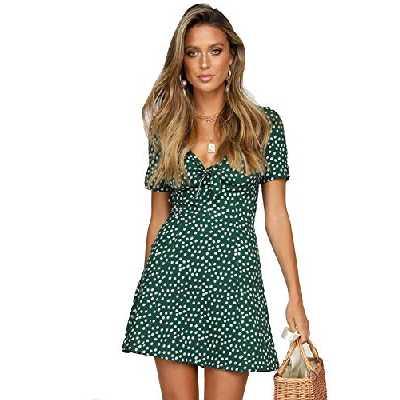 SEMIR Robe Femme Courte Profond V Col Manche Courte Patineuse Petits Poids Chic Imprimé Mode Vert L
