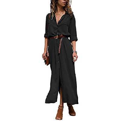 Yidarton Robe Femme Ete Col V Chic Chemise Robe à Manches Longues Couleur Unie (Noir, Large)