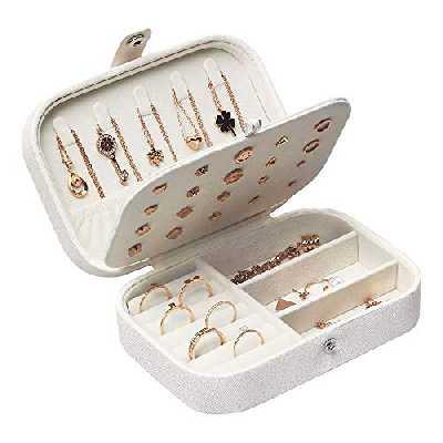 Boîtes à Bijoux Femme Voyage Organisateur de bijoux Filles Petit Jewelry Stockage Cas pour bagues Boucles d'oreilles Colliers Bracelets, 16,5 x 11,5 x 5,5 cm (Blanc)